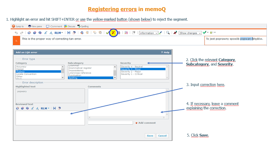 Display example of registering errors in memoq