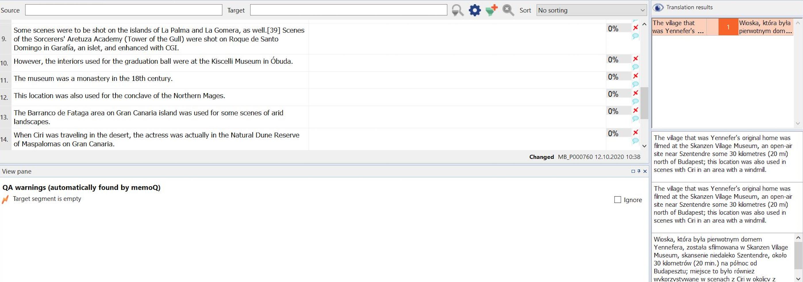 Example of memoq translation tool interface at work