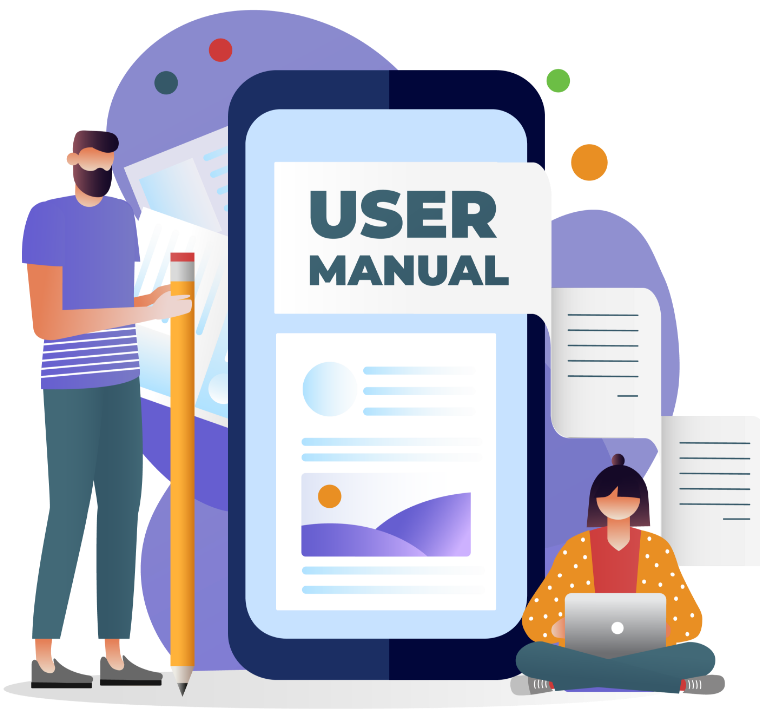 Vector image of a team working on user manual