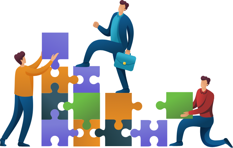 vector image showing buisnessman climbing puzzle pieces symbolizing business growth
